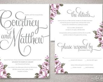 "Vintage Calligraphy ""Courtney"" Wedding Invitations Suite - Floral Shabby Chic Invite - Custom DIY Digital Printable or Printed Invitation"
