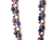 Long chunky double-strand semiprecious blue, white, red sodalite statement necklace, OOAK - ALFAdesigns