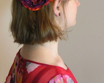 Fabric Flower hair clip Orange and Raspberry Crush
