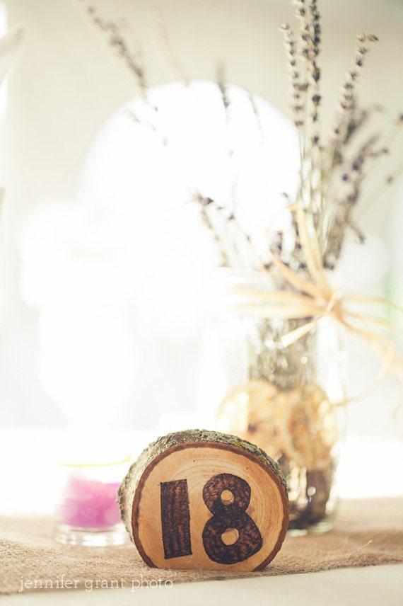 plain wood burned table numbers 9