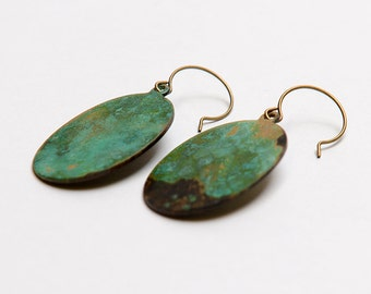 Verdigris patina big oval brass earrings. Blue green patina brass oval earrings. Turquoise oval earrings.