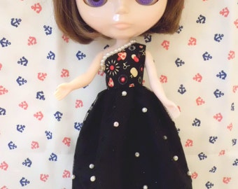 Blythe dress Mushroom Print Pearl Black Long Dress