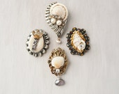 4 Little Shell Magnets -  recycled vintage jewelry and seashells