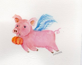Flying Pig watercolor painting original, when pigs fly, pig, pumpkin original watercolor painting, Flying Pig with Pumpkin, Halloween decor