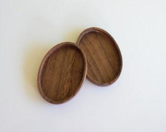 Handcut finished hardwood bezel trays - Walnut - 30 x 40 mm - (A2-W) - Set of 2