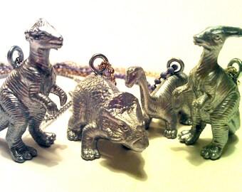 Silver Herbivore Dinosaur Necklace - Choose Your Dino - Paleontologist Chic