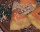 Set of 3 Primitive Halloween Fabric Candy Corn for Fall Displays Ornies Ornaments Bowl Fillers Shelf Sitters Tucks