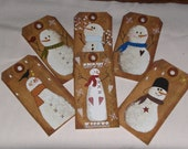 6 Primitive Snowman Christmas Holiday Hang Tags Gift Ties Ornies Scrapbooking Embellishments