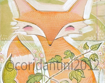 red fox - watercolor - drawing - 8x10 archival limited edition - vertical print by cori dantini