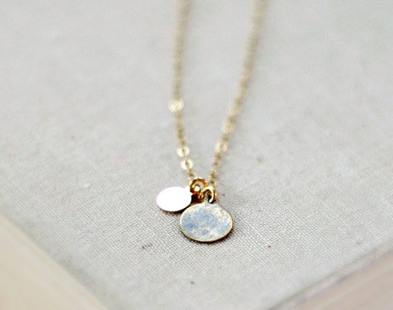Delicate gold jewelry - antique brass two drops - double round charms - tiny coins - small discs - natural patina - edor Lamina necklace
