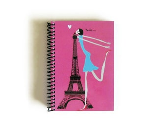 Kiss Travel Journal, Writing Journal, Pocket Journal, Blank Notebook, Sketchbook Spiral Bound, Diary Journal, Paris Journal, Spiral Notebook