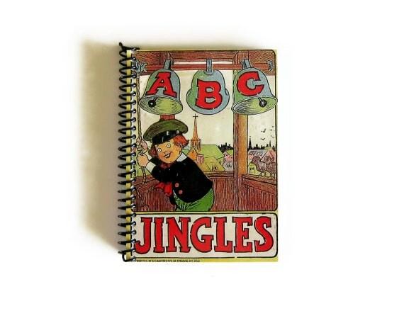 Antique School Bells - ABC Jingles - Cute Notebook Spiral Bound - 4x6in