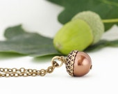 Rustic Jewlery, Woodland Necklace, Acorn Necklace, Brass and Bronze Pearls, For the Nature Lover, Gift For Mom, Girlfriend Gift