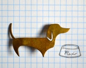 Vintage Brass Daschund Pin or Brooch -- Stocking Stuffer idea