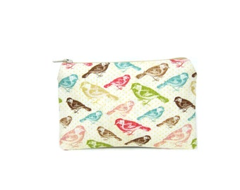 Bird Mini Zipper Pouch / Pretty Camera Bag in Birds on Cream