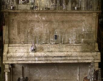 piano photograph, glass bottles, music print, home decor, Fine Art Photograph office decor