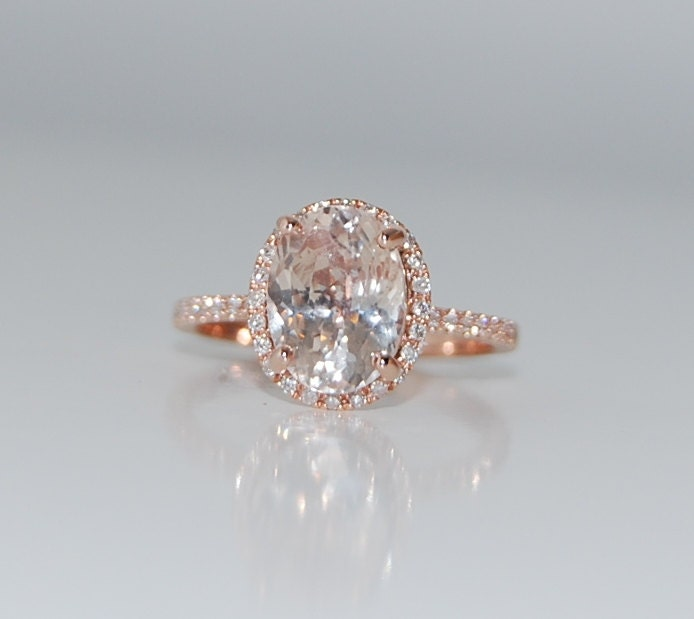 ... Peach champagne sapphire ring diamond ring 14k rose gold engagement ring  3.31ct oval sapphire. 🔎zoom
