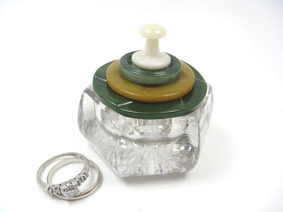 SALE Engagement Ring Box Salt Cellar Vintage Button Lid