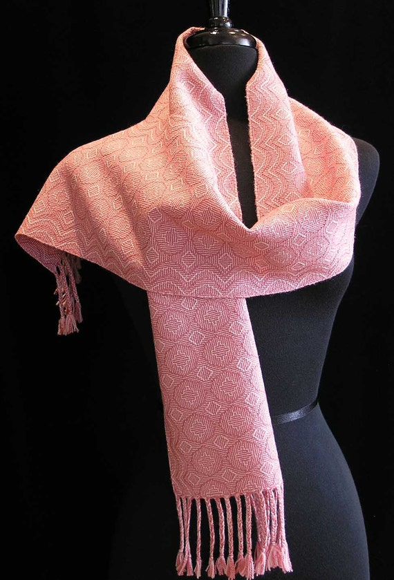 Handwoven Scarf - Pink  and Cream Silk  Wool Scarf - Pink Romance
