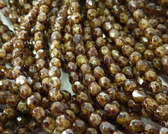 3mm Faceted Opaque Coffee Bean Picasso Firepolished Czech Glass Beads - Qty 100 (DS33)
