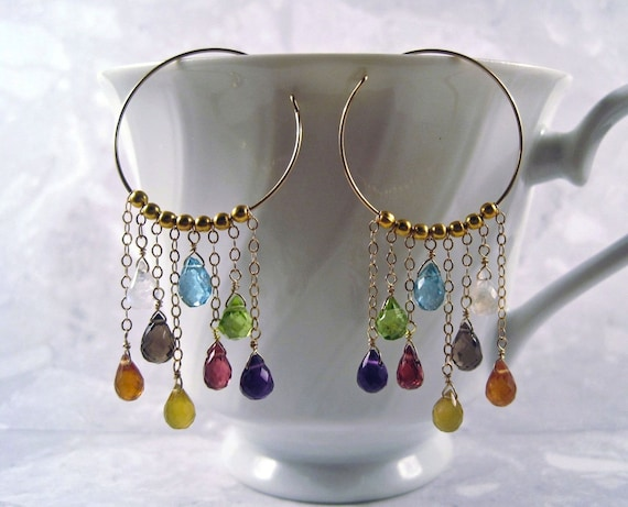 Multi Gemstone Hoops- Gold Filled, Amethyst, Peridot, Garnet, Apatite, Smoky Quartz, Yellow & Orange Chalcedony