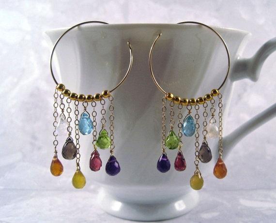 Multi Gemstone Hoops- Amethyst, Peridot, Garnet, Apatite, Smoky Quartz, Yellow & Orange Chalcedony