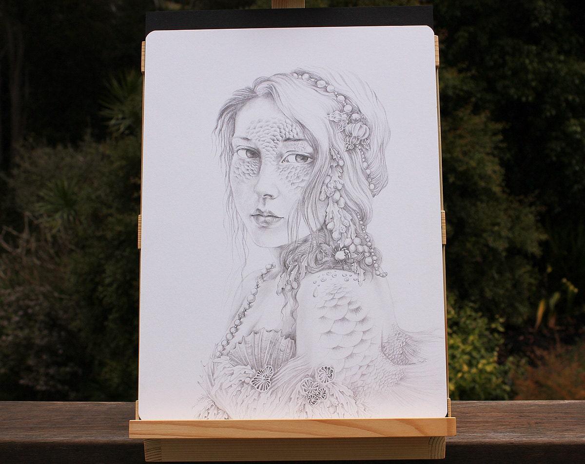 ORIGINAL Mermaid Fantasy Art Drawing Water Nymph Portrait in