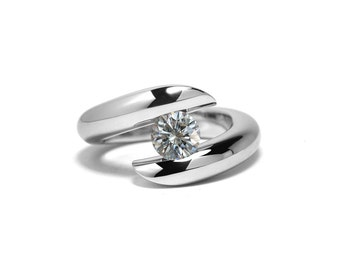 White Sapphire Engagement Ring Bypass Tension Set Mounting in Stainless Steel