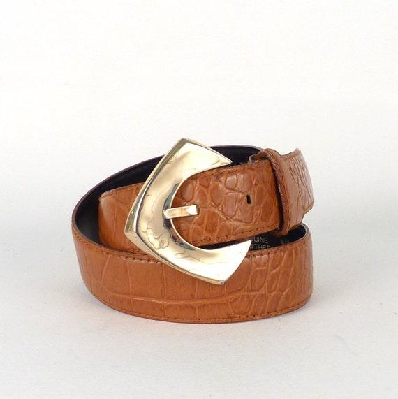 "Vintage leather designer belt - By Liz Claiborne Large gold buckle Geometric buckle Cowhide belt Texture alligator pattern size 30"""