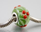 Winter Berries Large Hole Charm Bead with Sterling core, Handmade Lampwork Glass, Christmas jewelry
