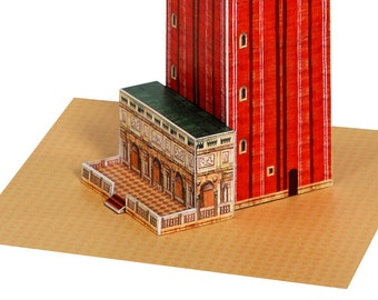 Venice Campanile || St Mark's bell tower paper model kit with colorful printed details || height 10 inches = 24 cm