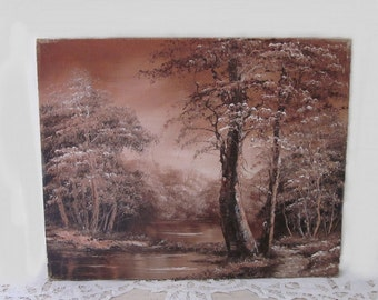 vintage Enchanted Forest, Autumn Watering Hole Canvas Painting. Monochromatic brown woodland landscape. Country Cottage Cabin Original Art