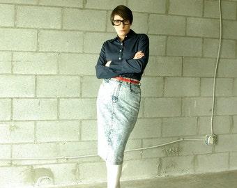 80s acid wash pencil jean skirt - 1211270
