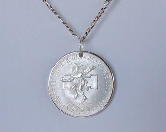 Coin Pendant - Premium Quality - Handmade with a 1968 Olympics Mexican Commemorative 25 Pesos Silver Coin Solid Silver Figaro Chain Included