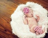 Ready to Ship, Crochet Newborn Baby Zinnia Headband Legwarmer Set, Handmade, Girl Photo Prop, Shower Gift, Pearl Flower, Valentine