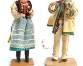 vintage folk dolls.bridal couple.eastern european.costumes.tessiemay