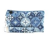 Blue clutch bag - small purse - womens evening bag - handmade clutch with handle strap - fabric handbag - wristlet - MADE TO ORDER