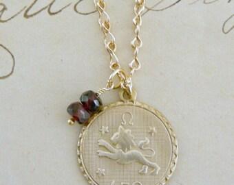 Vintage Necklace - Leo Necklace - Vintage Brass jewelry - Personalized Jewelry - Garnet Gemstone - handmade jewelry