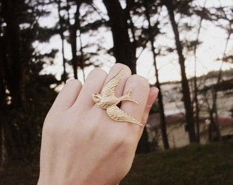 Gold Bird Ring Rustic Jewelry Statement Woodland Boho Bohemian Hunger Games Mockingjay Vintage Style Accessories Womens Gift For Her Spring