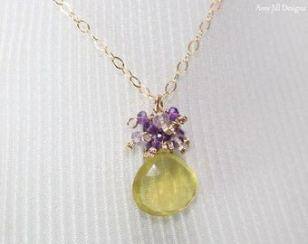 Yellow Topaz Necklace, Amethyst and Pink Amethyst, Cluster Pendant, Yellow Topaz Jewelry, Gold Filled, Purple Yellow Gemstone Jewelry