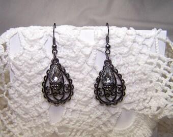 Black Dangle Earrings Gunmetal Jewelry Steampunk Goth Victorian Gypsy Diamond Look