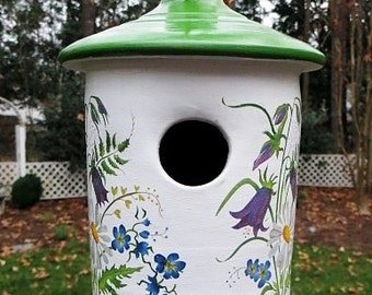 Ceramic Bird House With Flowers For Small Birds