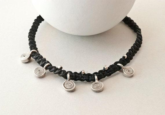 Friendship Bracelet Sterling Silver Charm Bracelet, Silver Spiral Charms and Black Thread Handwoven Dainty Bracelet, Delicate Bracelet