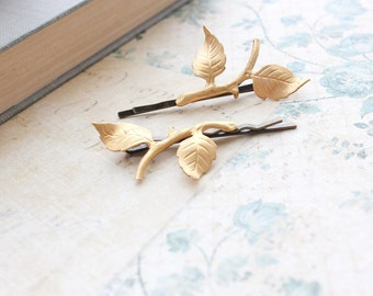 Branch Bobby Pins Gold Leaf Hair Pins Raw Brass Woodland Wedding Branch Hair Accessories Pair of Golden Leaves Ethereal Nature Bobbies