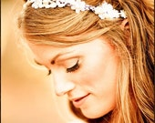 Bridal Lace Headband, lace head wrap, wedding flower headpiece, bridal flower headband, lace head band, lace hair piece, ivory hair piece