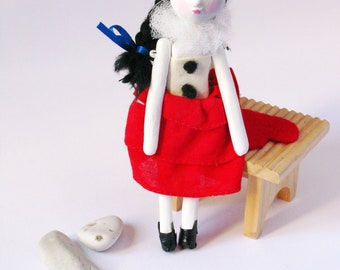 Art Doll - Pierrette the Comedian  - Contemporary Handmade Paper Clay Doll - One Of A Kind
