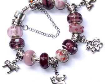 Charm Bracelet Animal Lovers - European Bracelet - Pink Bracelet - Purple Bracelet - Bracelets for Women - Bracelets for kids
