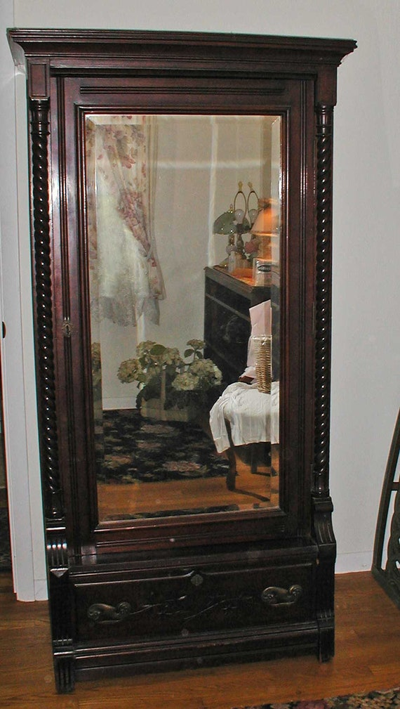 Victorian Eastlake Wardrobe or Armoire With Beveled Mirror Door and Interior Drawers