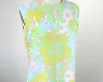 1960s Mod Floral Shift Dress Pastel Size Medium Large