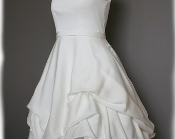 Short Wedding Dress, Silk Crepe Georgette, Custom Made to Order in your size - Jackie Style